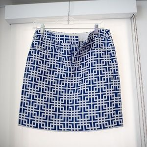 Loft blue and white geometric skirt